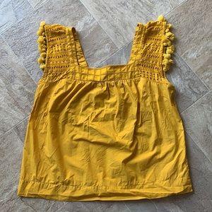 J. Crew- Mustard Yellow Pom-Pom Square Neck Eyelet